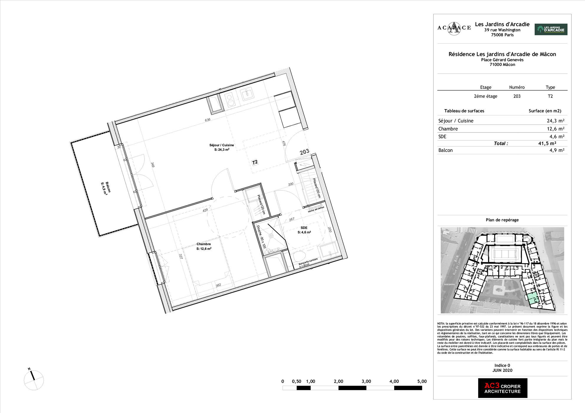 Plan de vente Appartement 203