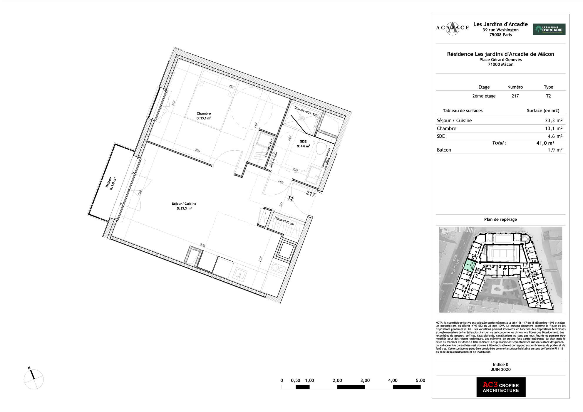 Plan de vente Appartement 217